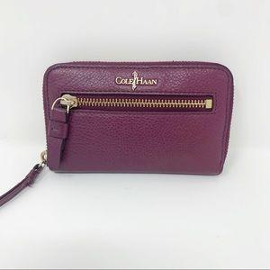 Cole Haan Pebble Leather Deep Purple Wristlet